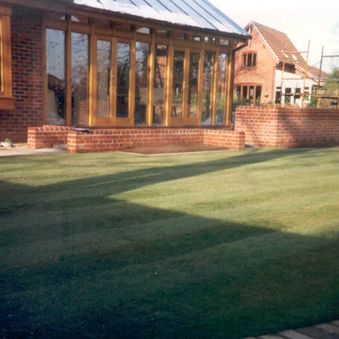 Newly laid lawn with mowing edge