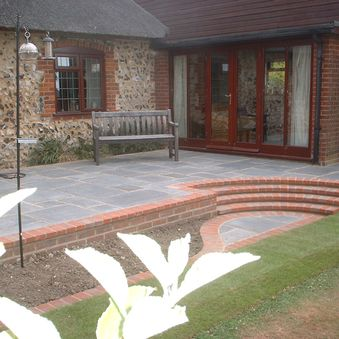 Patio constructed using Old London paving