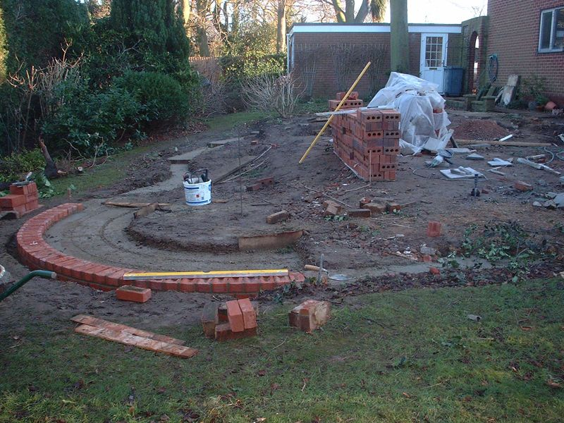 Paved garden design preparation
